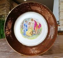 Alt Wien 22 karátos aranyozott porcelán jelenetes nagy tányér