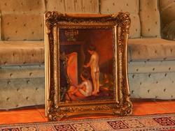 40 x 50 cm-es képhez szép keret, ajándék olajfestménnyel