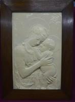 Nagyméretű, gipsz szentkép, olajfestékes mázzal 76*54 cm