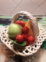Olasz, finom kidolgozású - nagy porcelán csipkés gyümölcskosár, virágkosár
