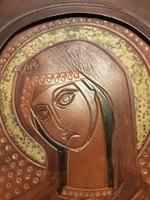 Madonna - bőr ikon Béni Mária - szent kép, falikép