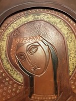 Madonna - bőr ikon Béni Mária - szent kép