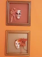 Velencei porcelán maszkok - együtt és külön is eladók, dekorálva, ízléses keretben -Jesolóból