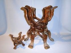 Ritka és különleges egy tömbből mahagóni fából faragott összecsukható tartó teve formájú