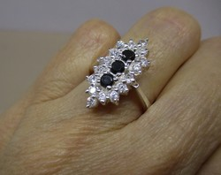 Karácsony!! Szépséges  art deco ezüst gyűrű csodás fehér és sötétkék kövekkel