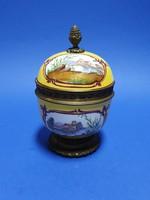 Porcelán festett fedeles cukortartó doboz