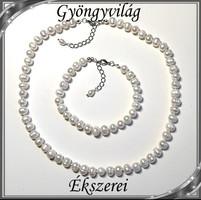 Édesvizi igazgyöngy nyaklánc-karkötő szett, ezüstözött kapoccsal SSZEB-IG05 7x8 fehér