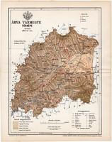 Árva vármegye térkép 1895 (10), lexikon melléklet, Gönczy Pál, megye, Posner Károly, eredeti