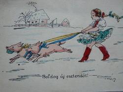 ÚJÉVI ÜDVÖZLET KÉZZEL FESTETT POST CARD, KÉPESLAP 1930 KÖRÜL (9X14 CM) PÁLLFY JELZETT EREDETI