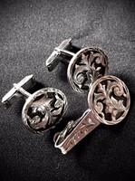 PLAFINA MEXICO 925 sterling ezüst mandzsettagombok és nyakkendő csipesz