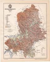 Nógrád vármegye térkép 1896 (11), lexikon melléklet, Gönczy Pál, megye, Posner Károly, eredeti