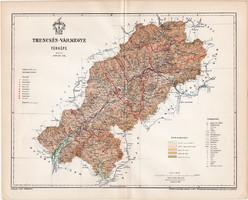 Trencsén vármegye térkép 1897 (10), lexikon melléklet, Gönczy Pál, megye, Posner Károly, eredeti