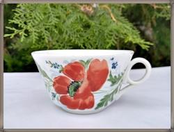 Káprázatosan szép, kézzel festett nagy pipacs mintás felfelé szélesedő antik porcelán komacsésze.