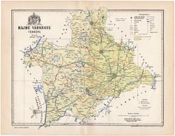 Hajdú vármegye térkép 1893 (10), lexikon melléklet, Gönczy Pál, megye, Posner Károly, eredeti