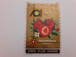 Retro szörpös üvegcímke 1983 Ági nektár Szamóca koktél címke