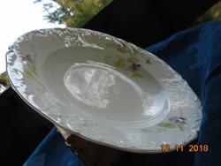 Szecessziós gazdag dombormintákkal kézzel festett,kézzel számozott ibolyás mély tányér