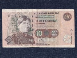 Skócia RITKA 10 font sterling bankjegy Clydesdale Bank 1999 (id12341)
