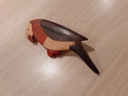 Fa papagáj kitűző, különböző szines fából intarzia