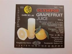 Retro szörpös üvegcímke 1983 Olympos Grapefruit juice címke