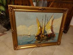 Benedek György Balatoni vitorlások antik festmény!
