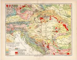 Osztrák - Magyar Monarchia geológiai térkép 1908, német nyelvű, eredeti, geológia, földtan, magyar