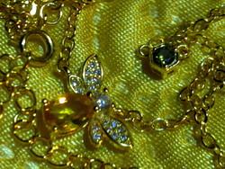 Szép aranyozott ezüst citrin peridot drágakő méhecske nyaklánc sárga arany