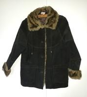 Sötétbarna elegáns, márkás hasított bőr női kabát műszőrmével L méretben eladó