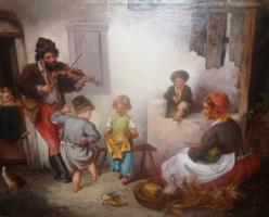 J. Arlet: Szegénységben, vidámságban (olajfestmény, 55x68 cm, jelzett) vigalom,muzsika,tánc,gyerekek