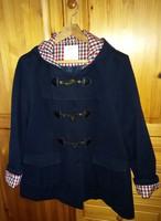Telt alakra sötétkék elegáns kapucnis női szövet kabát XL méretben, újszerű állapotban eladó