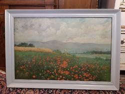 Pipacsmezőn festmény, 91x63 cm