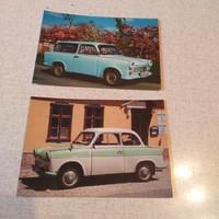 2 db Trabant képeslap