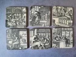 Parafa poháralátétek, középkori mesterségek sorozatParafa poharalátétek, középkori mesterségek soro
