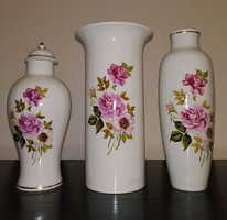 3 DB hibátlan Hollóházi váza, 26 cm, jelzett