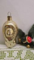 Régi üveg karácsonyfadísz arany oroszlán