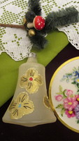 Régi karácsonyfadisz üveg harang kézzel festett