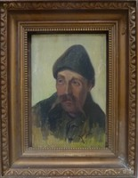 Kunffy Lajos: Kucsmás férfi portréja, 1918, olajfestmény, szép kerettel, 27x33 cm