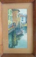 Sugár Gyula: Velence  [akvarell 1988-ból, kerettel, 28x44 cm]