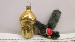 Régi figurális üveg karácsonyfadísz gomba télapó