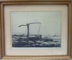 SZŐNYI ISTVÁN: Gémeskút [rézkarc, jelzett, kerettel, 32x26 cm] alföld, mező, síkság, puszta, vidék