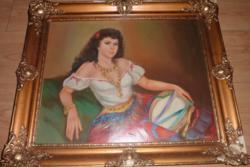 Kránitz Margit: Carmen (eredeti zsürizett olajfestmény kerettel)