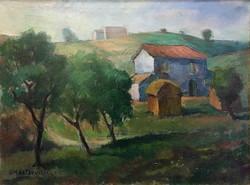 Giuseppe Castrovilli (1909-2003):Olasz táj,festmény:61 x 80 cm,kerettel:73 x 93 cm