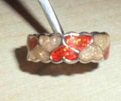 Tűzpiros-Arany Szív Tűzzománc Iparművész Gyűrű 6-os