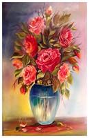 Különleges színvilágú IMPRESSZIONISTA csendélet, Rózsák címmel