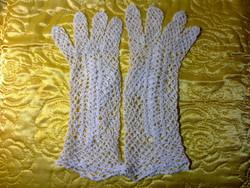 ÚJ horgolt hóhehér  csipke cérna kesztyű egyedi kézimunka