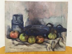 Antik olaj karton csendélet szignált festmény Nr 6.