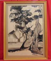 Vén korhadó fa, 1986 - 'Vízi' szignóval ellátott igényes munka (tus-filc) üvegezett keretben