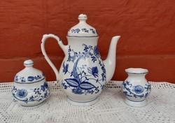 Kék Hagymamintás teáskanna, cukortartó, váza
