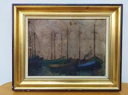 Antik olaj vászon nívós szignált vitorlás hajó kikötő festmény keretben Nr 34.