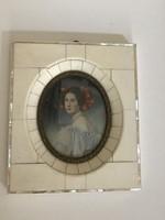 Csont keretes festmény miniatúra Stieler szignóval