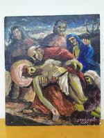 Antik olaj fatábla 1946 szignált keresztény vallás jézus levétele festmény keret nélkül Nr 31.